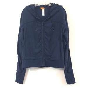 Lucy Navy Athletic Zip Up Jacket Hood Pockets Sz M
